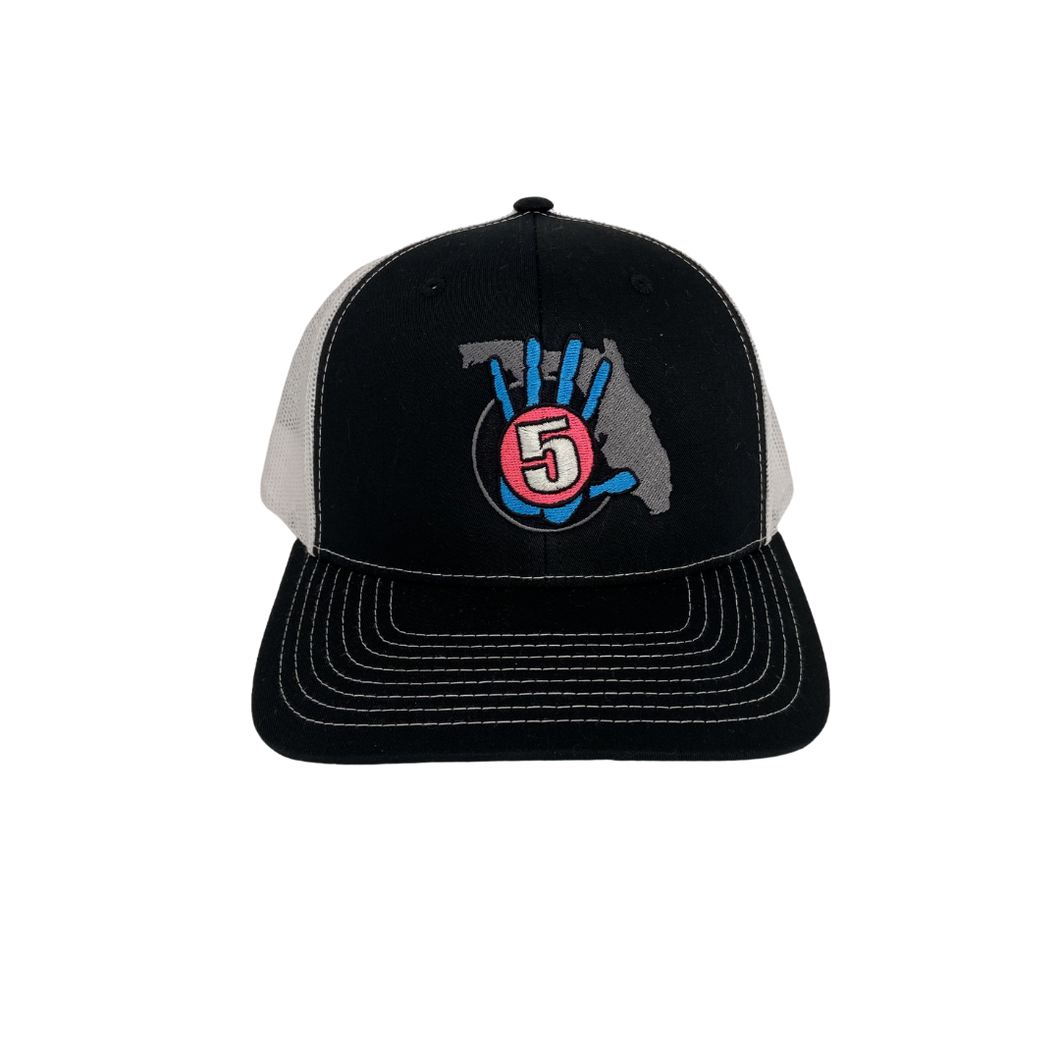 High 5 Retro Florida Curved Bill Hat (black/white)