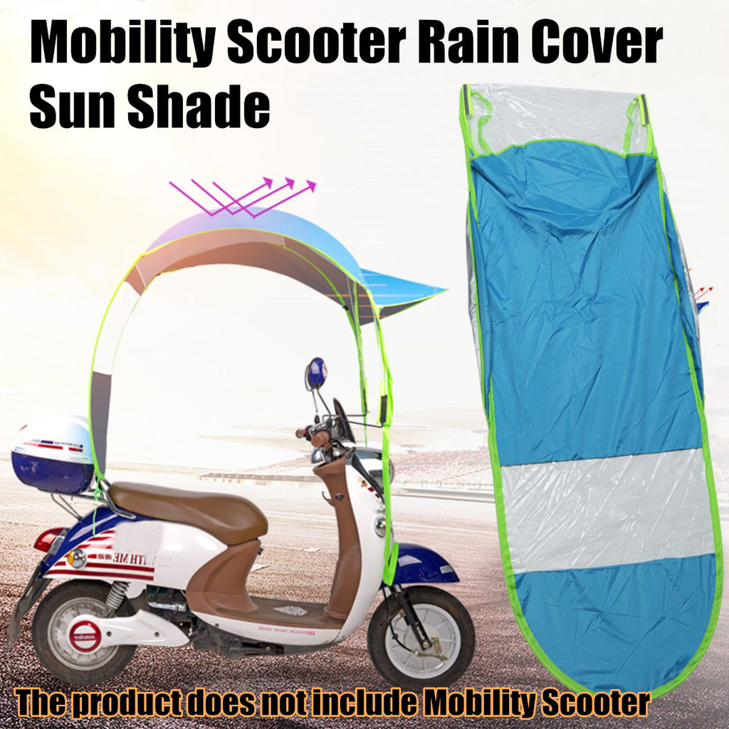 Mobility Scooter Sun Rain Wind Cover Electric Car Prevent Umbrella 2.8*0.8*0.75M Blue