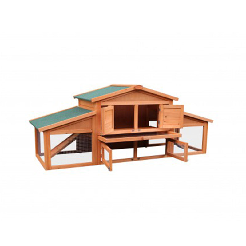 TOPMAX 70-Inch Wooden Rabbit Hutch Outdoor Pet Bed House Cage for Small Animals with 2 Run Play Area