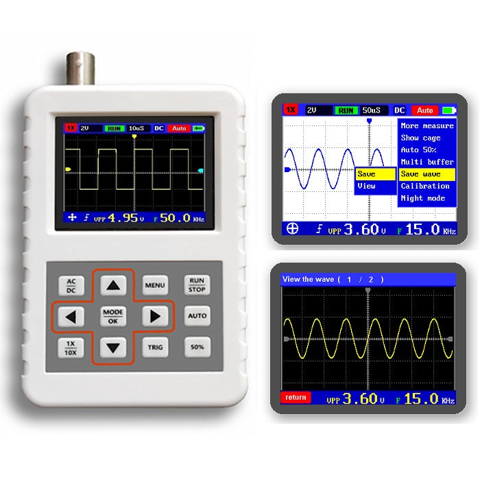 DANIU ADS2050H ADS2031H Handheld Oscilloscope High Precision 5MHz Bandwidth 20M/200M Sampling Rate 2.4 Inch LCD Screen One Key Auto Built-in Lithium Battery