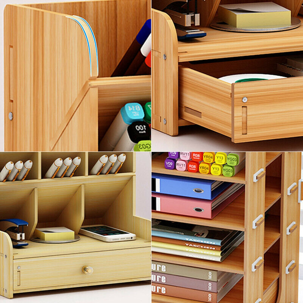 Wooden Desktop Organizer Multi-Functional DIY Pen Holder Box Tilting / Vertical Desktop Stationary Home Office Supplies Storage Rack with Drawer