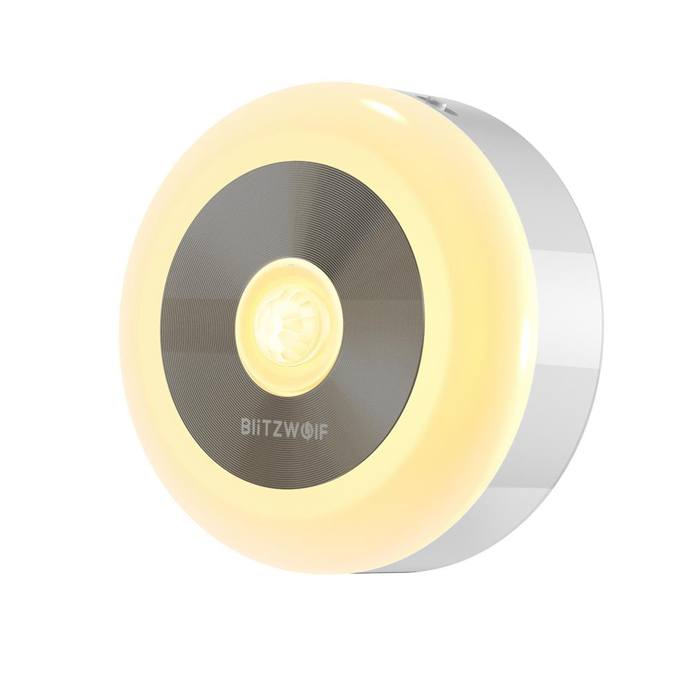 BlitzWolf® BW-LT15 LED Motion & PIR Infrared Sensor Night Light 3000K Color Temperature 120° Lighting Angle Battery Operated Night Lamp