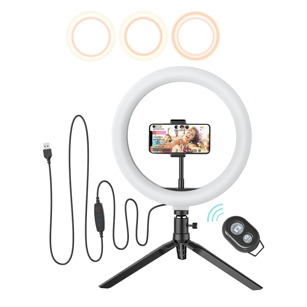 BlitzWolf® BW-SL3 10inch Dimmable LED Ring Light Tripod Stand USB Plug for TikTok Youtube Live Stream Makeup with Phone Clip