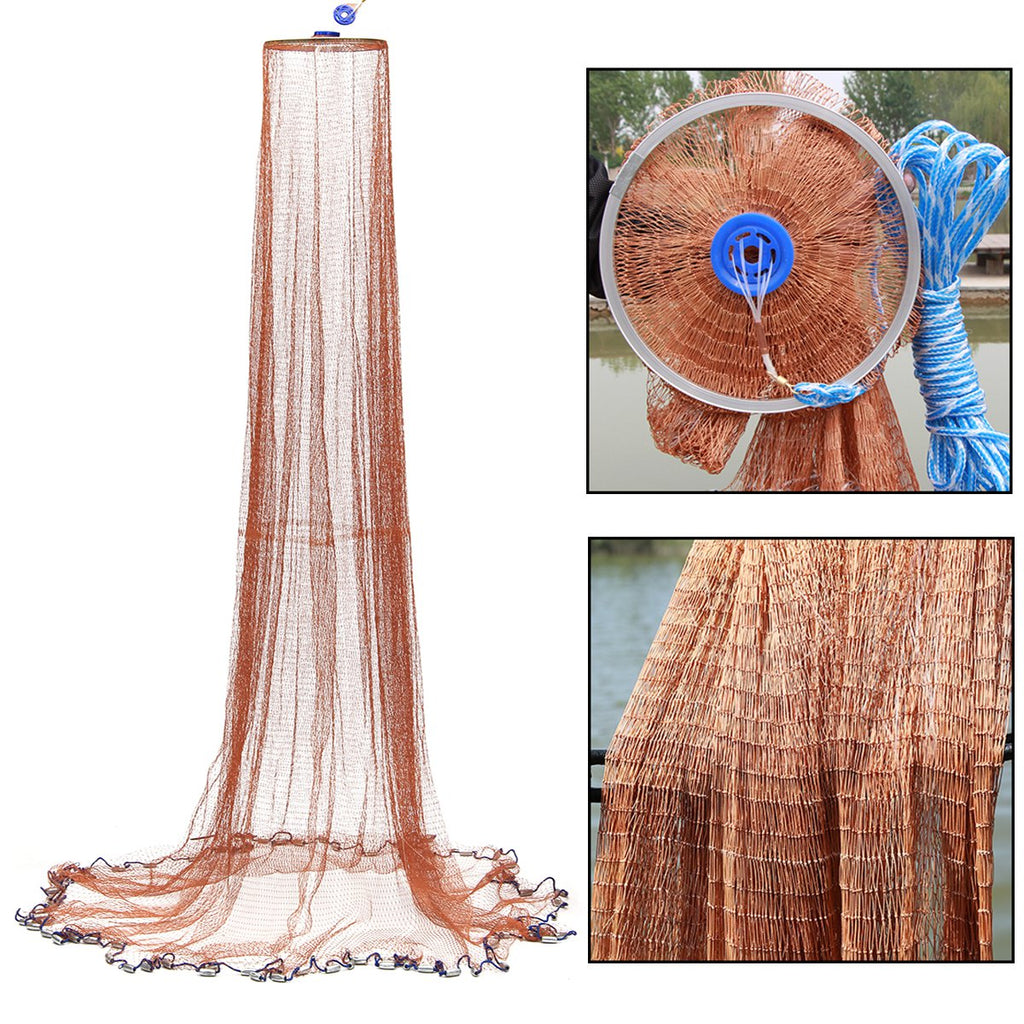 2.4m USA Style Brown Fishing Net Bait Casting Strong Nylon Line With Sinker 4FT Fishing Network