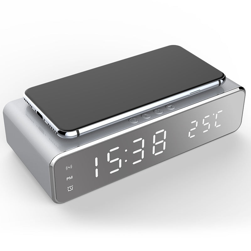 USB Digital LED Desk Alarm Clock With Thermometer Wireless Charger For Samsung Xiaomi Huawei