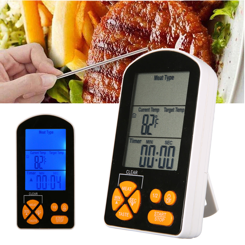 Remote Digital Cooking Food Meat Thermometer for Grilling Oven Kitchen Smoker BBQ Grill Thermometer with Probe + 2 AAA Battery