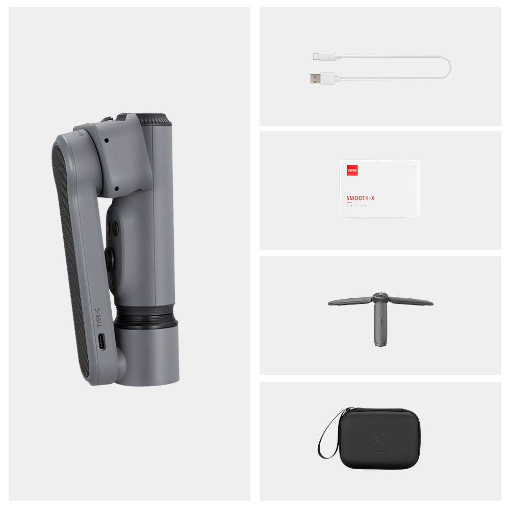 ZHIYUN Smooth X Handheld Gimbal Extension Rod Stick Stabilizer Portable Palm Size Selfie Stick for iPhone Huawei Xiaomi Tiktok YouTube Live Stream Vlog Video Selfie