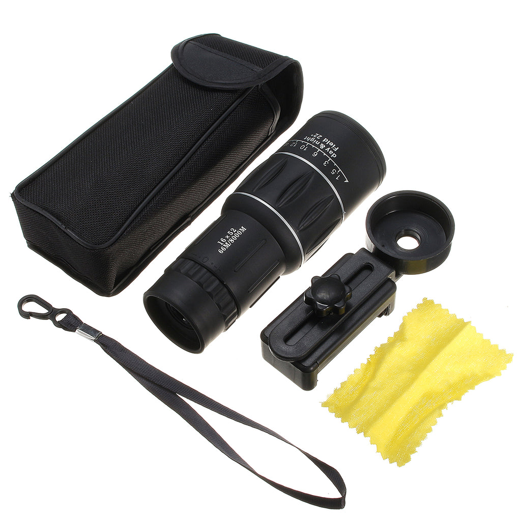 16x52 HD Universal Hiking Concert Optics Telescope Zoom Optic Lens Armoring Monocular Phone Photo Lens Phone Holder