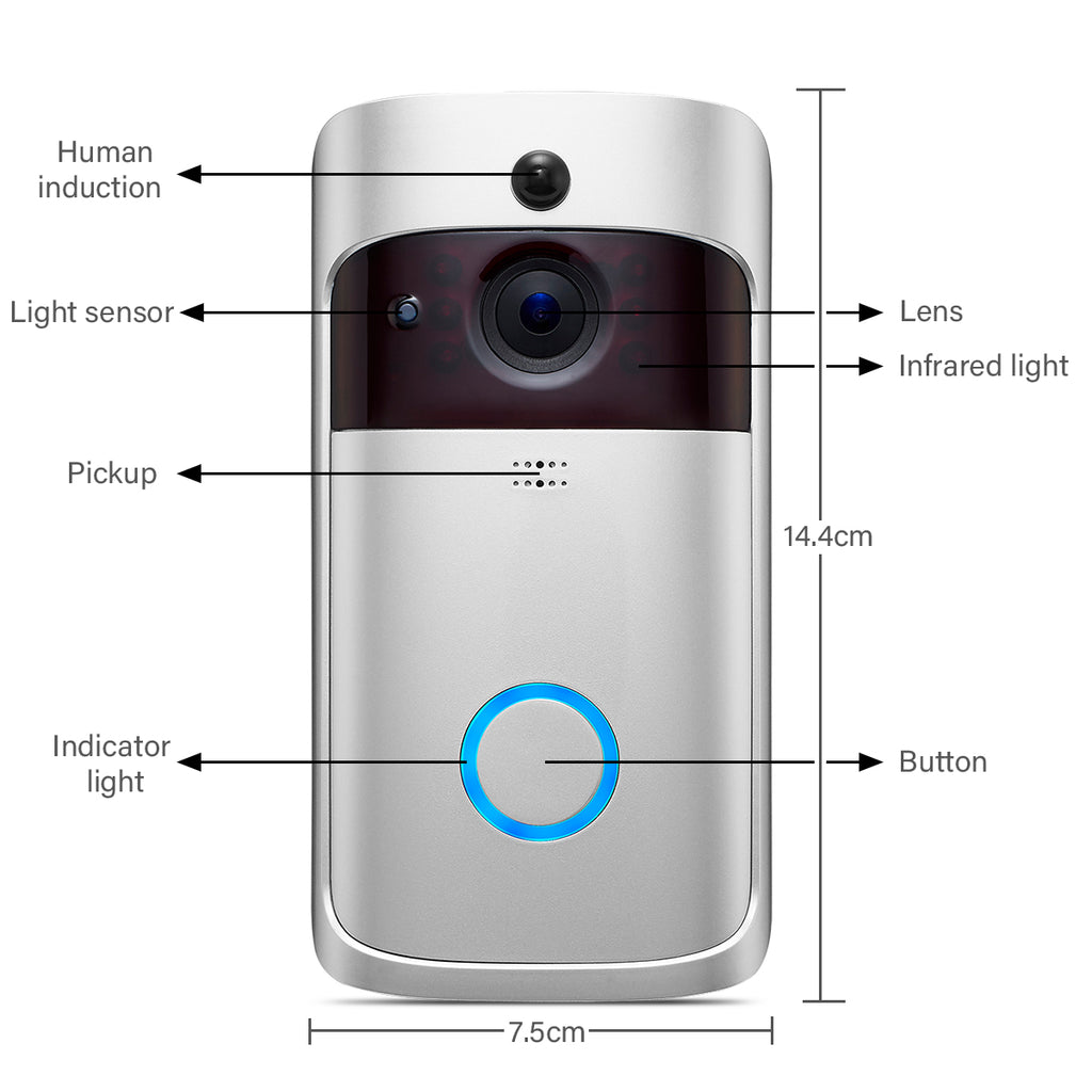 Smart 720P WiFi Video Doorbell Real-Time Security Camera Talk Night Vision PIR Motion Detect