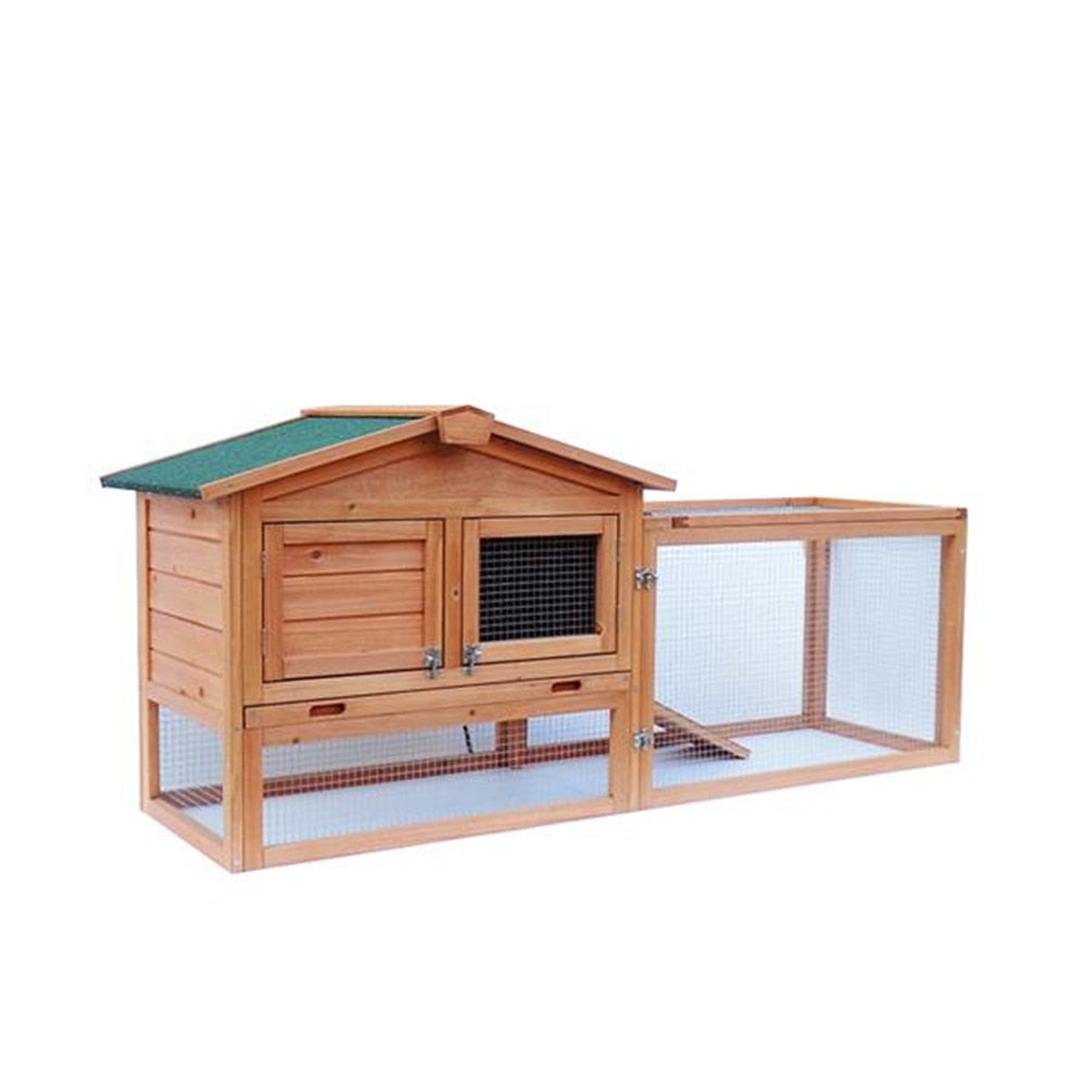 "In Stock US Warehouse 61"" Waterproof Two-tier Wooden Rabbit Hutch Cage Chicken Coop House Bunny Hen Pet Animal Backyard Ru"