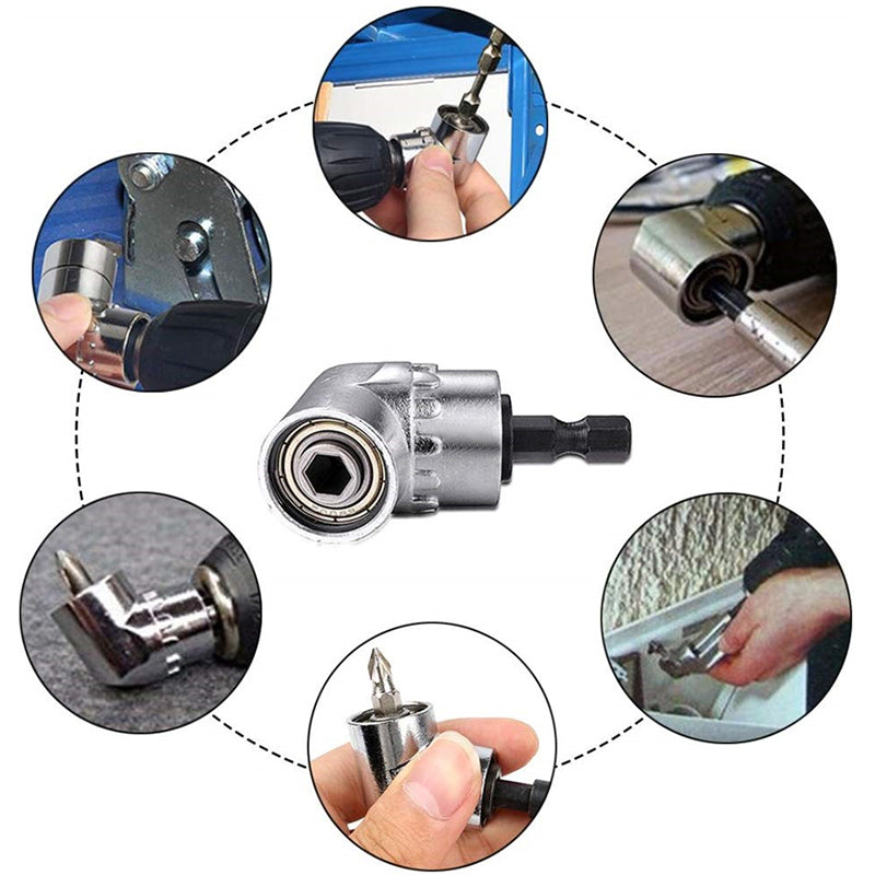 105 Degree Right Angle Drill Adapter with Flexible Shaft Bits Extension Shaft with Screwdriver Bit Holder
