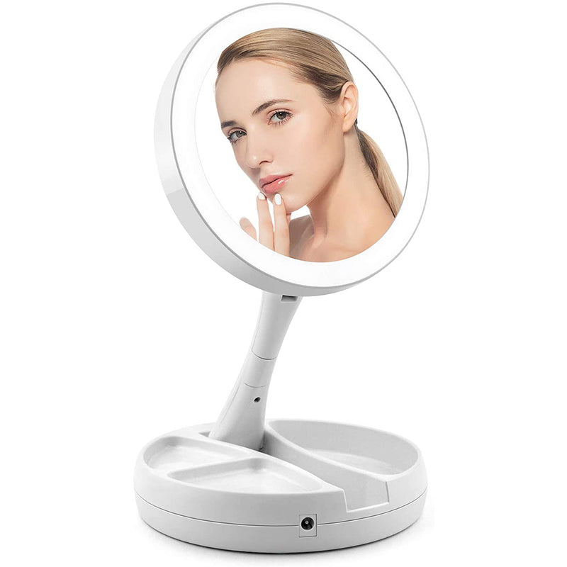 10X Magnifying Lighted Double-Sided Makeup Mirror LED Bathroom Travel Foldable