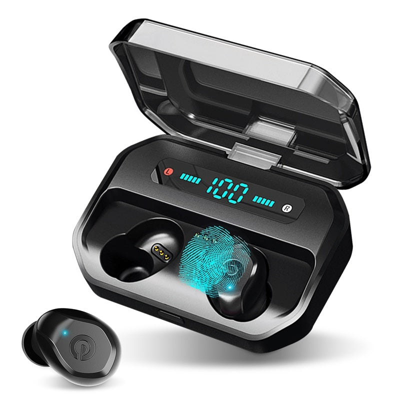 Dual bluetooth 5.0 TWS Wireless Earphone Digital Display IPX7 Waterproof In-ear Headphone with Mic Charging Box