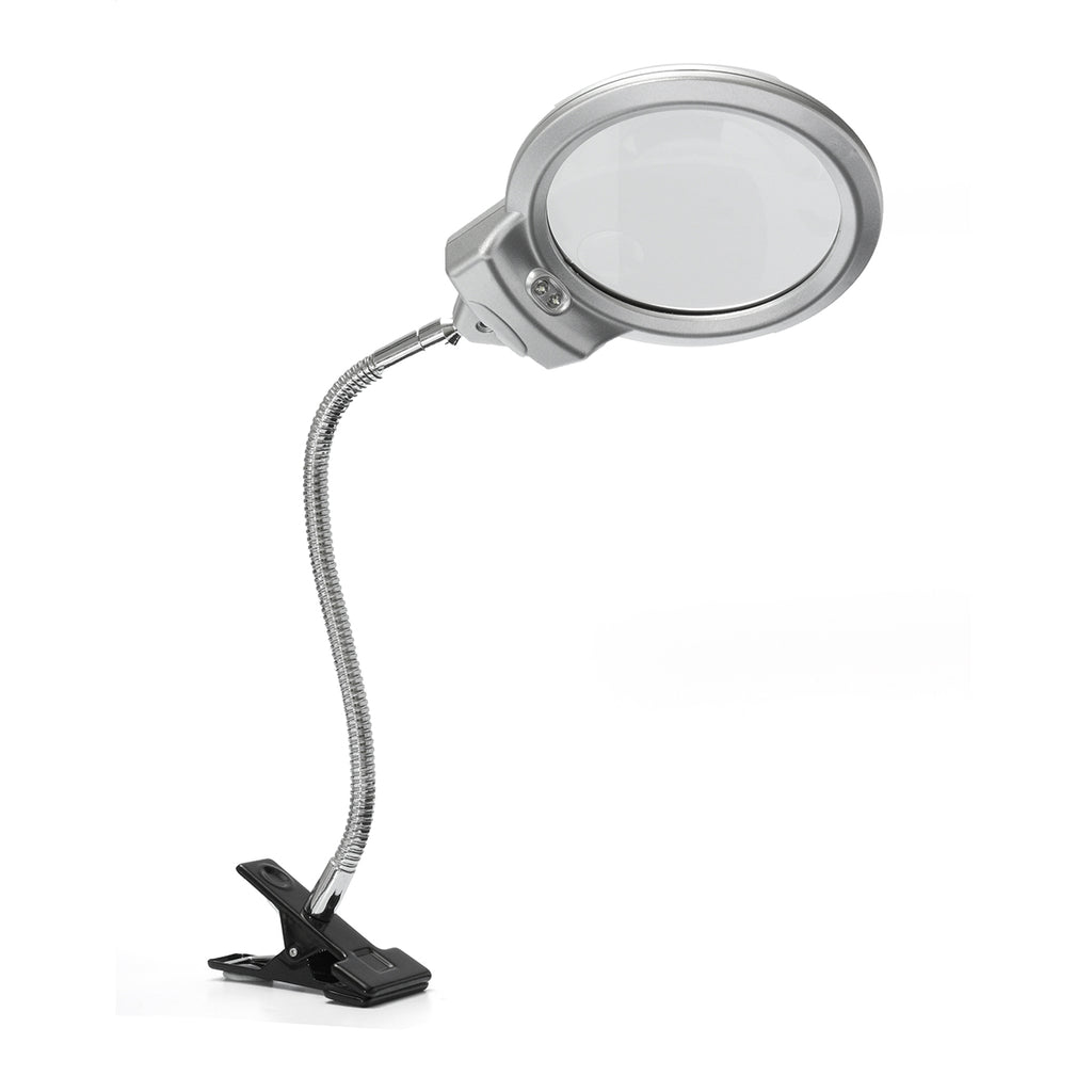New 2.5 x 90MM 5 x 22MM 2 LED Lighted Table Top Desk Magnifier Magnifying Glass with Clamp