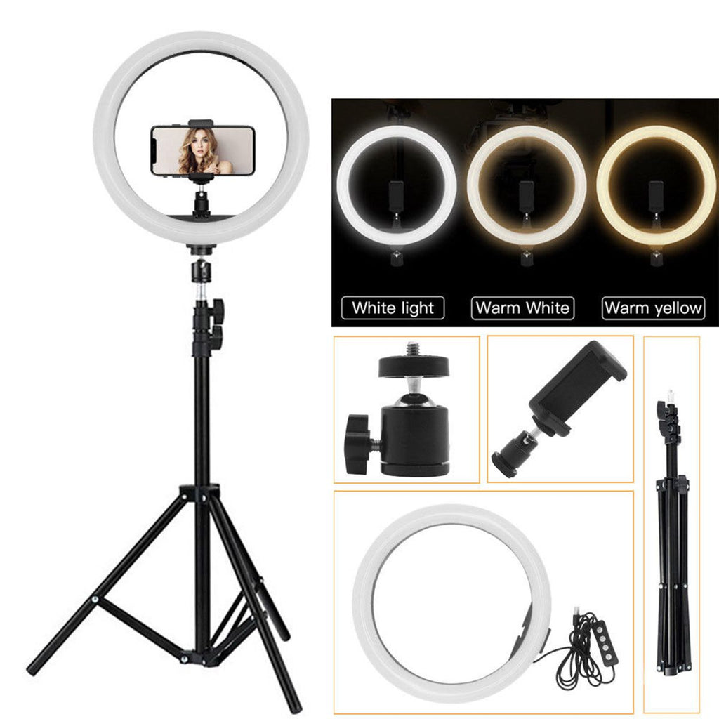 Portable LED Ring Light Tripod Stand Live Selfie Holder USB Plug 10 Inch Fill Light for YouTube Tiktok VK Vlog Makeup