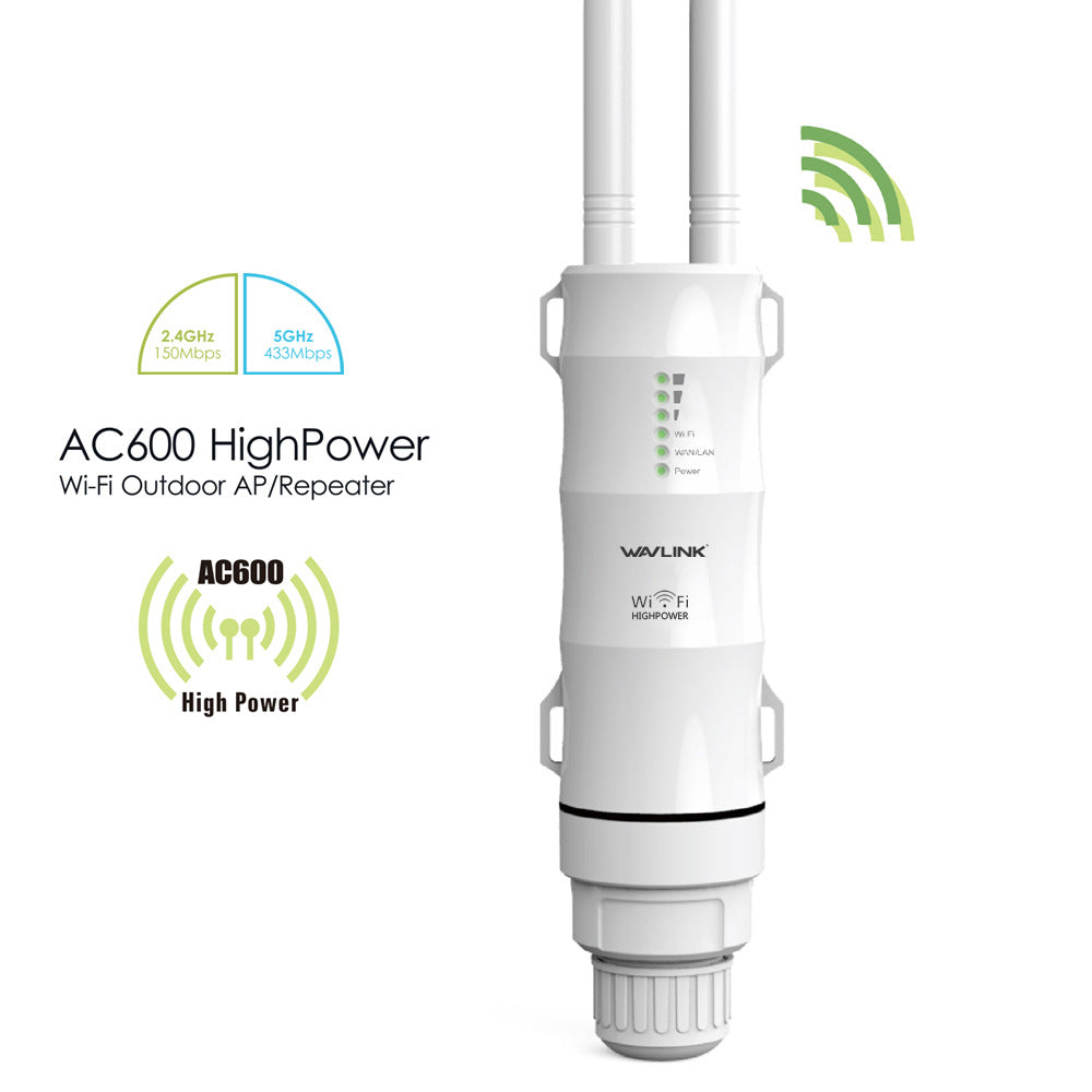 Wavlink AC600 Wireless Waterproof 3-1 Repeater High Power Outdoor WIFI Router/Access Point/CPE/WISP Wireless wifi Repeater Dual Dand 2.4/5Ghz 12dBi Antenna POE