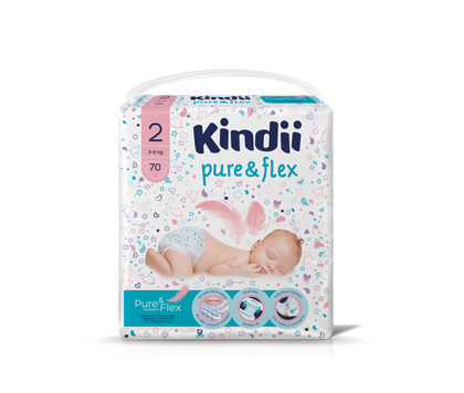 KINDII PURE & FLEX DIAPERS 3-6KG SIZE 2 70PCS