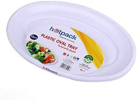 HOTPACK PLASTIC OVAL TRAY 10PCS 14