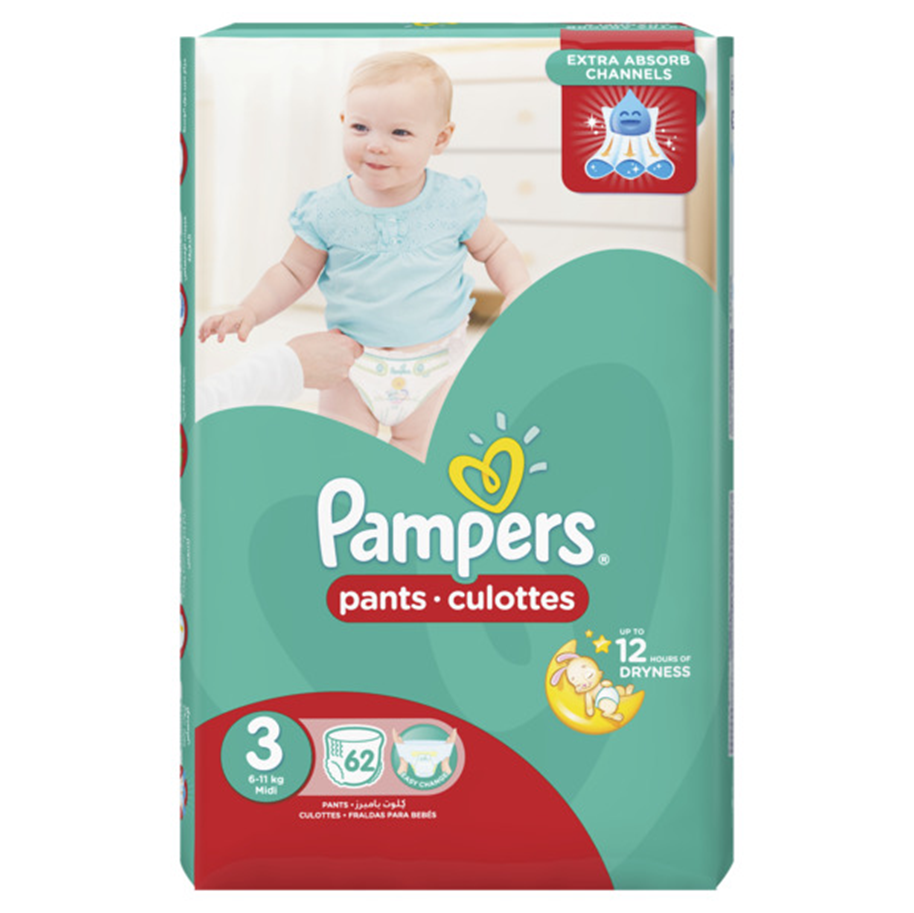 PAMPERS PANTS 3 MIDI 9PCS 6-11KG (CARRY PACK)
