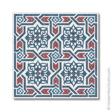 Load image into Gallery viewer, Islamic Pattern Decor Islamic Wall Art Red-Blue Arabesque Unframed