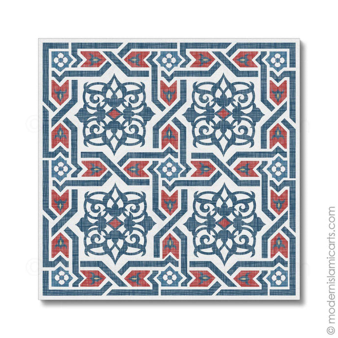 Islamic Pattern Decor Islamic Wall Art Red-Blue Arabesque Unframed