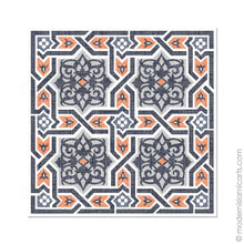 Load image into Gallery viewer, Islamic Canvas of Islamic Pattern Decor in Orange-Black Arabesque Canvas