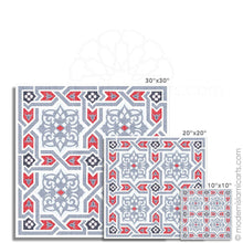 Load image into Gallery viewer, Grey-Red Arabesque Islamic Canvas of Islamic Pattern Decor Black Frame