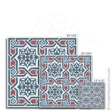 Load image into Gallery viewer, Islamic Wall Art of Islamic Pattern Decor in Red-Blue Arabesque Black Frame with Mat