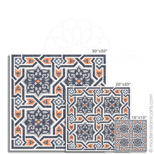 Load image into Gallery viewer, Orange-Black Arabesque Islamic Canvas of Islamic Pattern Decor Black Frame