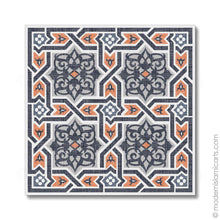 Load image into Gallery viewer, Islamic Canvas of Islamic Pattern Decor in Orange-Black Arabesque Black Frame with Mat