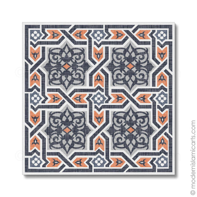 Islamic Canvas of Islamic Pattern Decor in Orange-Black Arabesque Black Frame with Mat
