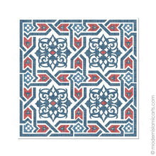 Load image into Gallery viewer, Islamic Wall Art of Islamic Pattern Decor in Red-Blue Arabesque Canvas