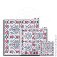 Load image into Gallery viewer, Islamic Canvas of Islamic Pattern Decor in Grey-Red Arabesque Black Frame with Mat