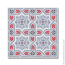 Load image into Gallery viewer, Islamic Pattern Decor Islamic Canvas Grey-Red Arabesque White Frame with Mat