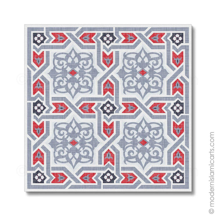 Islamic Pattern Decor Islamic Canvas Grey-Red Arabesque White Frame with Mat