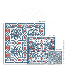 Load image into Gallery viewer, Islamic Pattern Decor Islamic Wall Art Red-Blue Arabesque White Frame with Mat