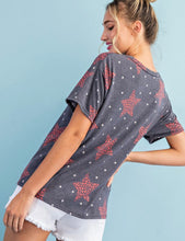 Load image into Gallery viewer, Star Print Scoop Neck Top - Denim