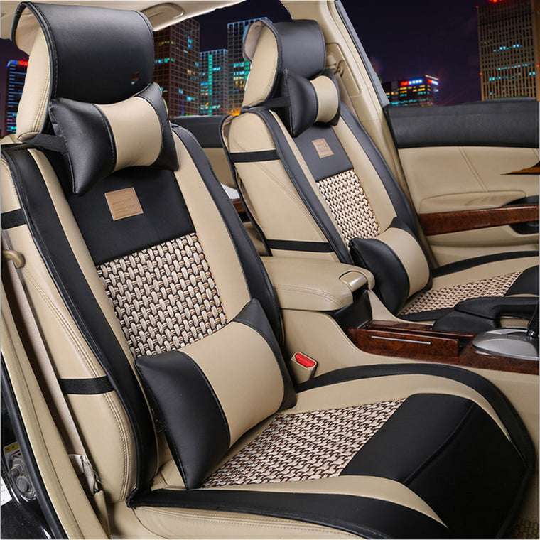 10 Piece Universal PU Leather Front/Rear Car Seat Protector Covers For 5 Seats