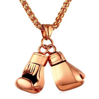 Men Hip Hop Chain Boxing Glove Necklace Gold Color Stainless Steel Pendant Charm Sport Fitness Jewelry-Pendant Necklaces-ShopDailyMix