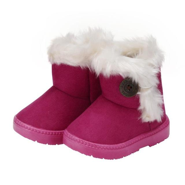 Winter child girls snow Boots Solid Wool Warm Baby Girls Child Shoes for Girl Casual Boots lush soft bottom baby girls-Boots-ShopDailyMix