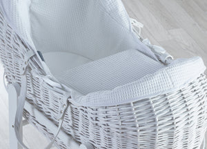 Kinder Valley White waffle with White Wicker Pod- Personalised By Babbabox - Babba box