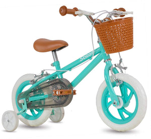 STITCH 12 Inch Kids Bike with Basket & Training Wheels for 4-7 Years Old Green