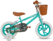 Load image into Gallery viewer, STITCH 12 Inch Kids Bike with Basket & Training Wheels for 4-7 Years Old Green