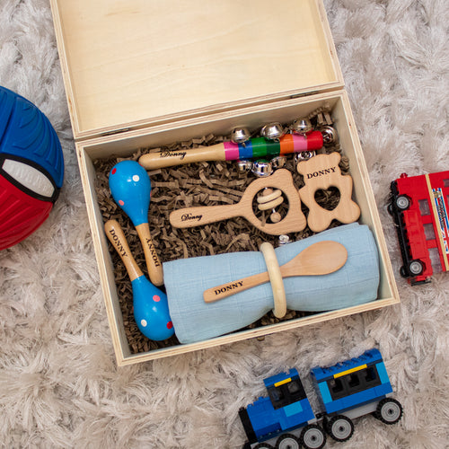 Prince & Princess 6: Personalised Wooden Keepsake Memory Box by Babba Box Co Royalty range - Babba box