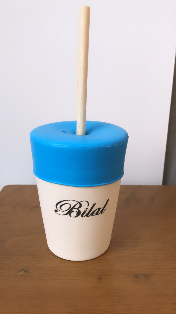 Personalised Straw Cup Blue - Babba box