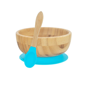 Bamboo Bowl with Suction cup and Spoon- Blue - Babba box