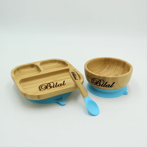 Bamboo Plate, Bowl and Spoon Set- Blue - Babba box