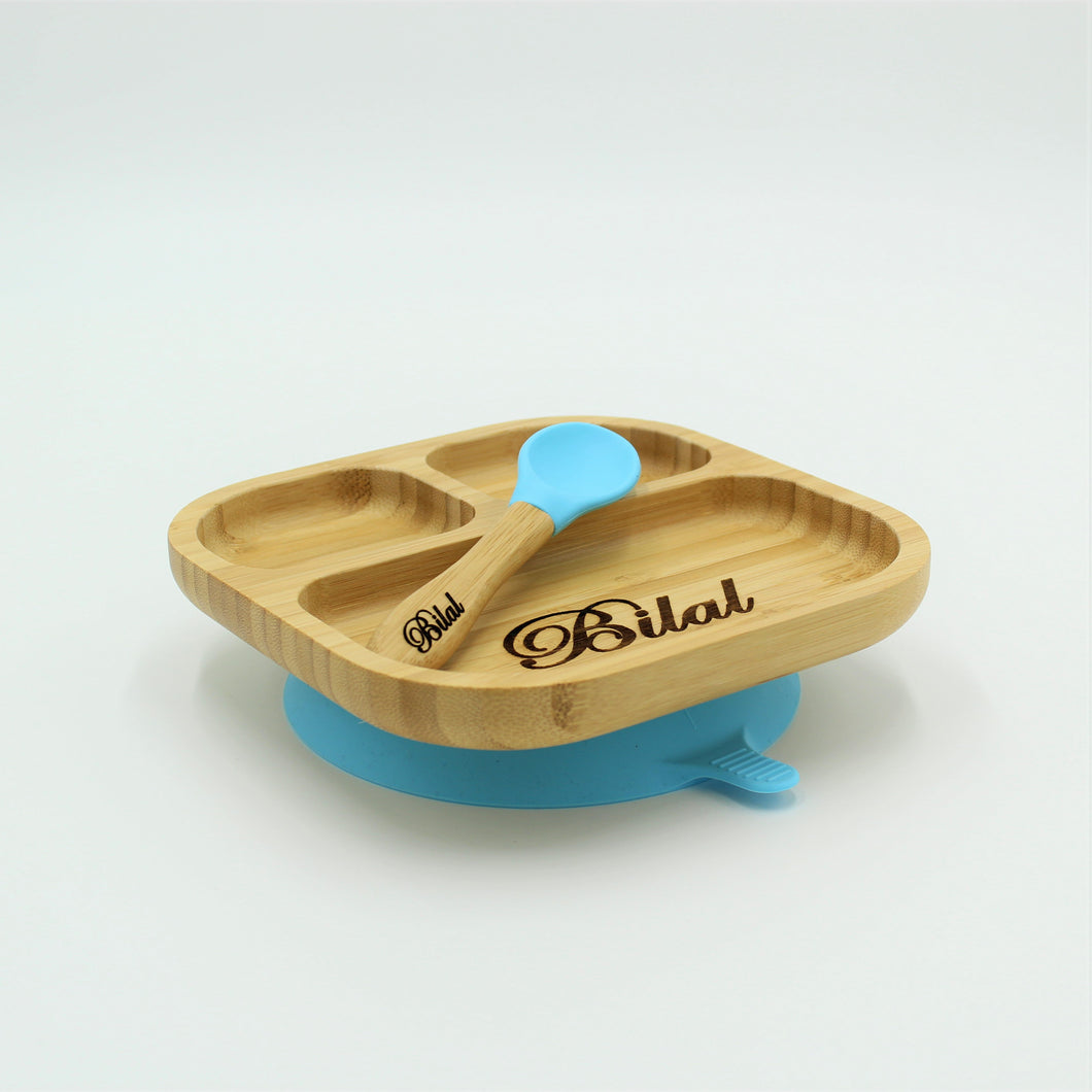 Bamboo Plate with Suction Cup and Spoon- Blue - Babba box