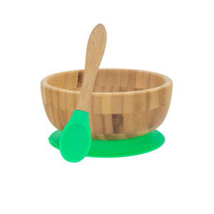 Bamboo Bowl with Suction Cup and Spoon- Green - Babba box