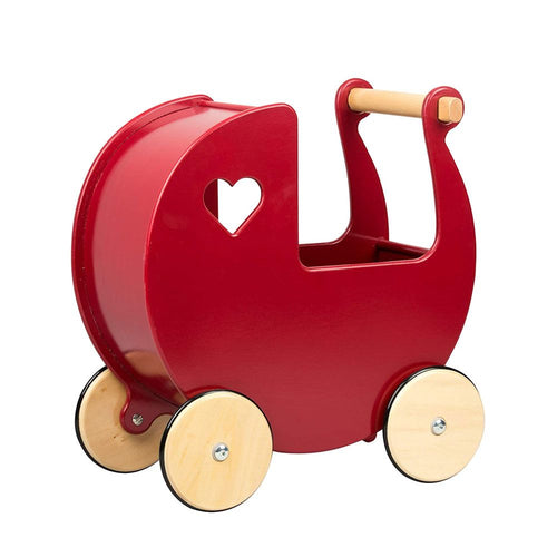 Personalised Wooden Moover Pram- Red - Babba box